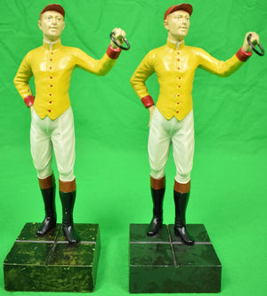 "Pair of ""21"" Club c1950s Yellow w/ Red Cap Jockey Bookends"