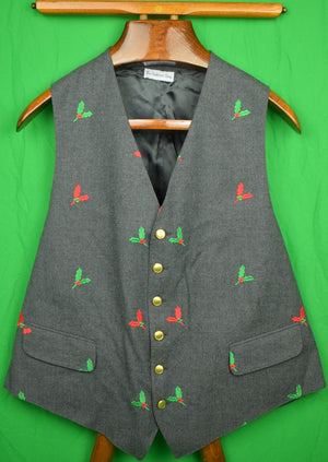 The Andover Shop Grey Flannel Vest w/ Embroidered Red & Green Holly Leaves Sz: 46L