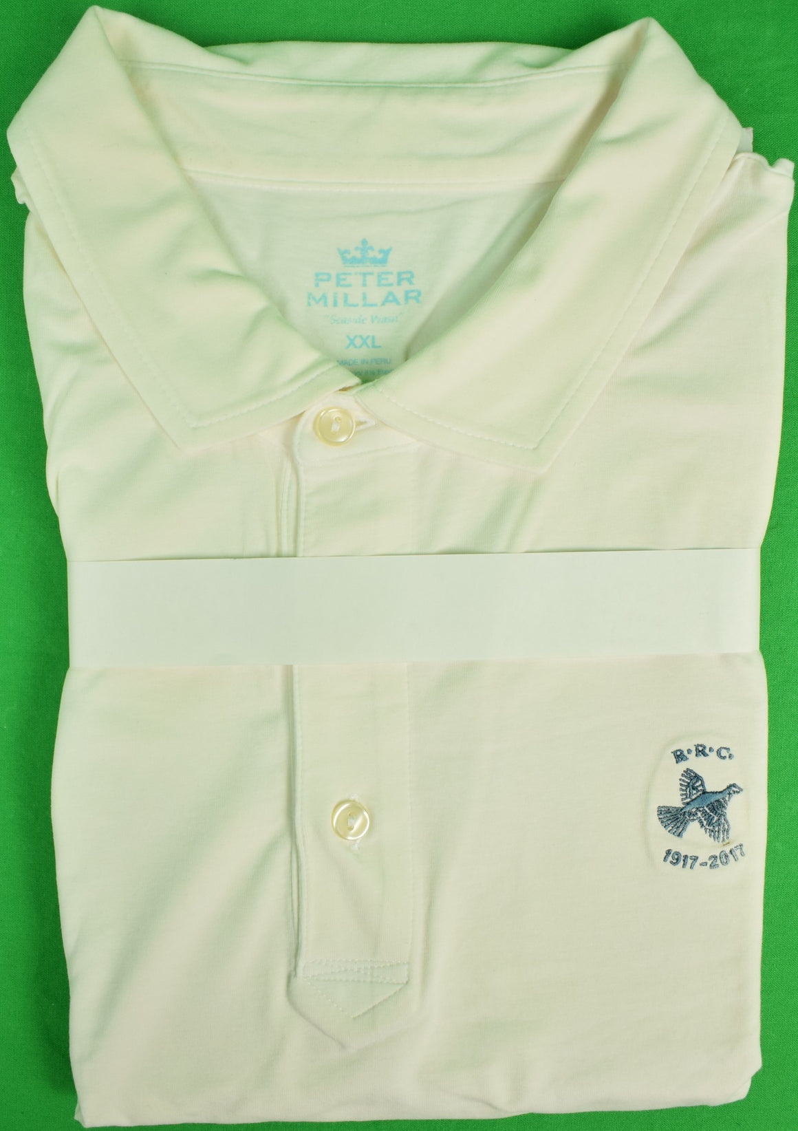 Peter Millar White S/S Polo Shirt w/ Rolling Rock Club Logo Sz: XXL