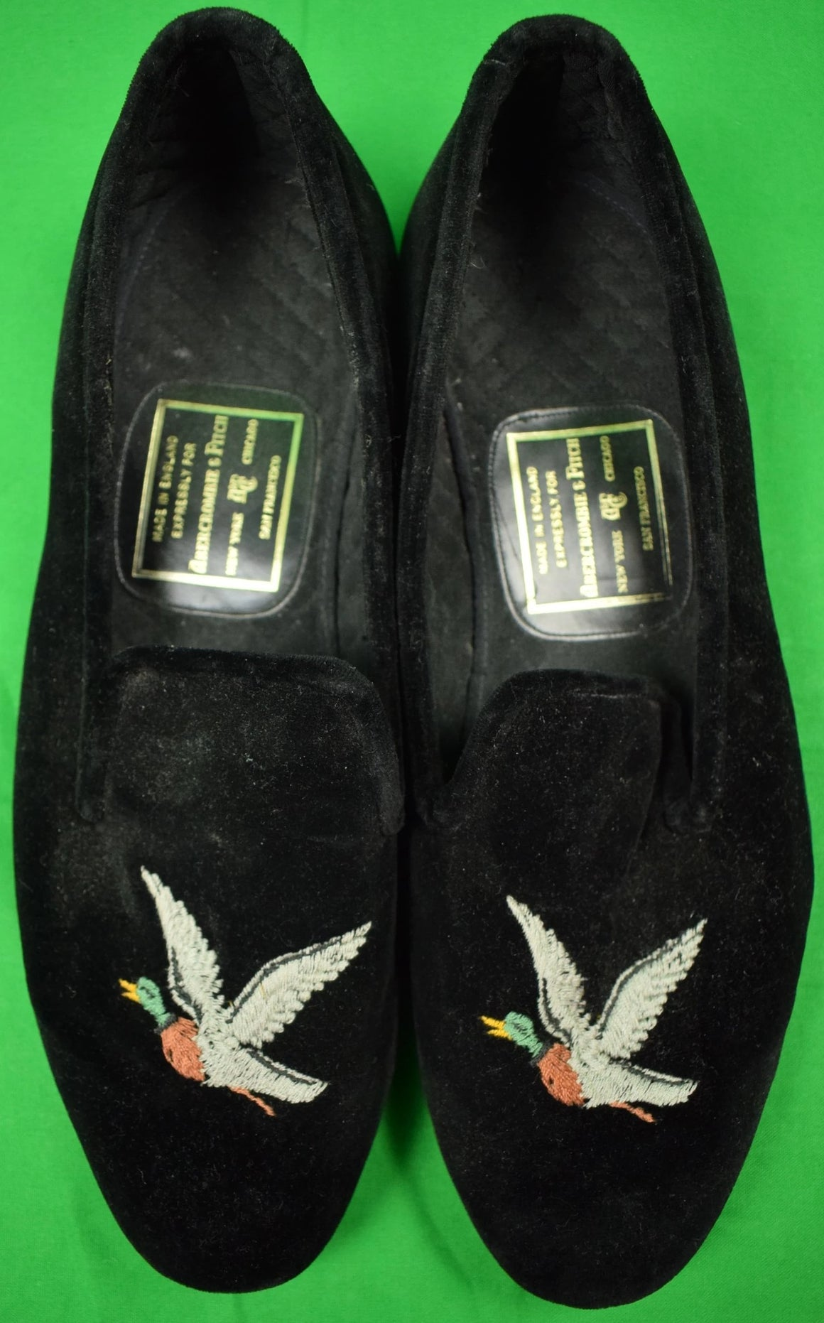 Abercrombie & Fitch Duck Black Velvet English Slippers Sz: 10E