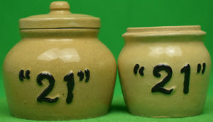 "Set of Two ""21"" Club New York c1950s Condiment Jars"