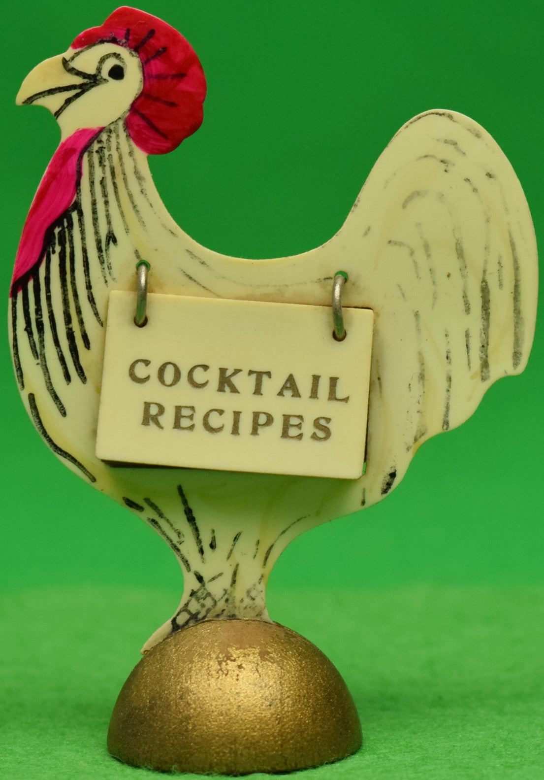 Cocktail Recipes Celluloid c1930s Rooster Stand