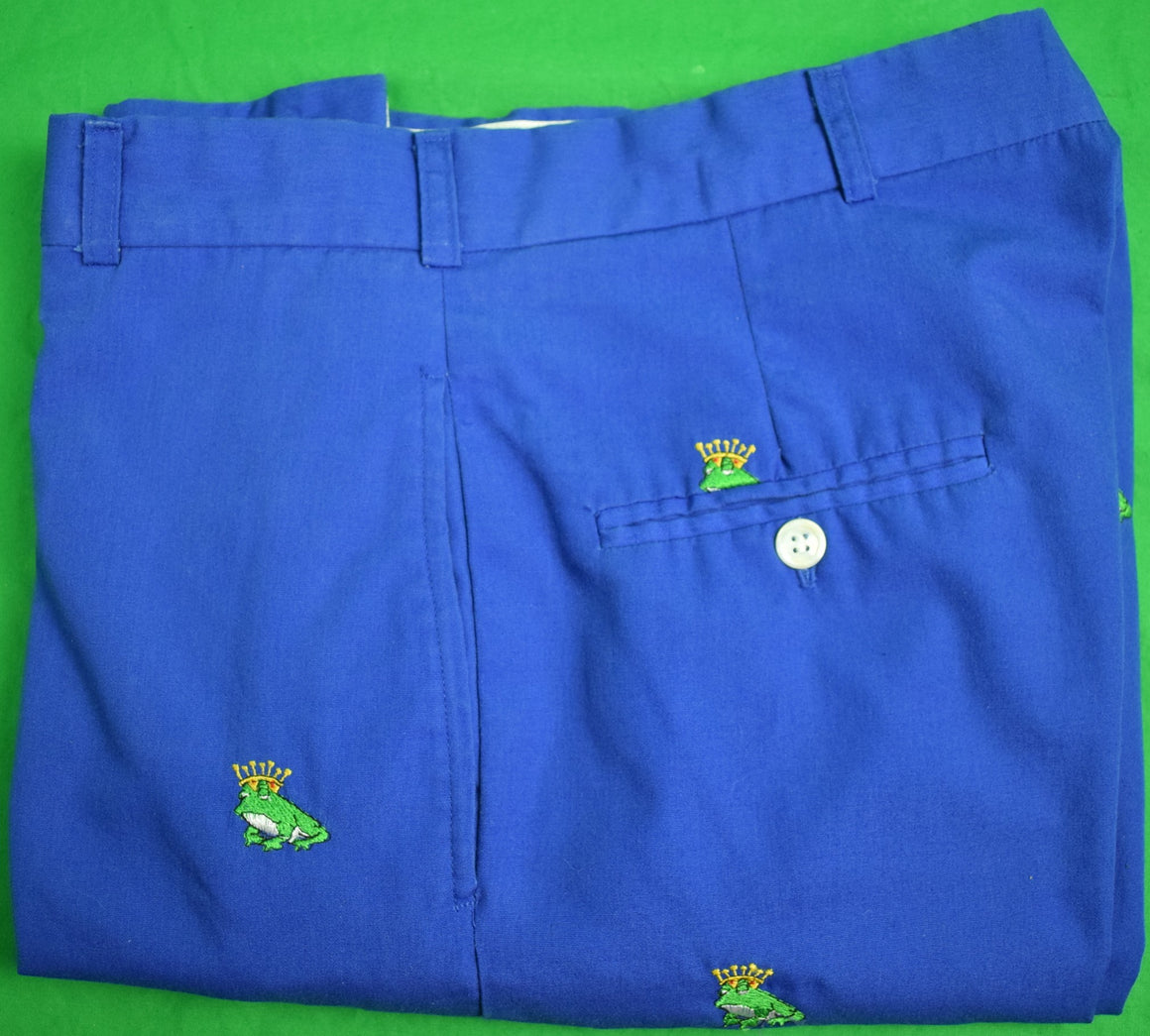 "O'Connell's Royal Blue Poplin w/ Green 'Frog Prince' Trousers Sz: 34""W (Sold!)"