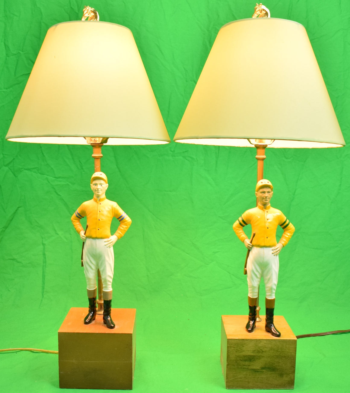 "Pair of Yellow ""21"" Club Jockey Lamps"