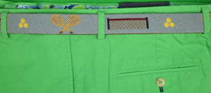 Hand-Needlepoint Belt w/ Tennis Motif Sz: 34""