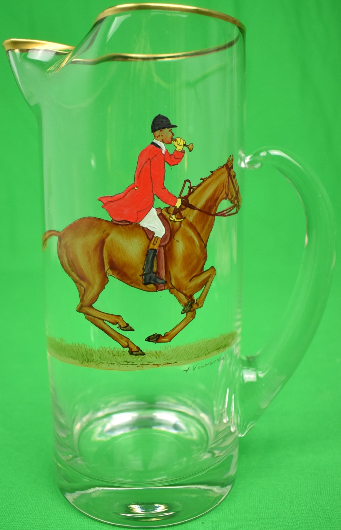 Abercrombie & Fitch Glass Hand-Painted Fox-Hunter Pitcher by Frank Vosmansky