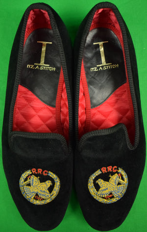 Rolling Rock Club Black Velvet Slippers Hand Made in England Sz: 10
