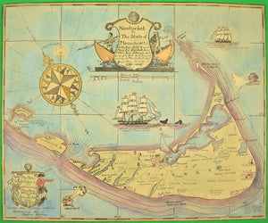 Watercolor Map of Nantucket, Designed 1921 by Austin Strong (American, 1881-1952) (SOLD)