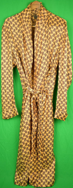 Brooks Brothers Yellow w/ Burg Paisley English Silk Dressing Gown Sz: L (SOLD)