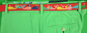 Hand-Needlepoint Red Belt w/ (21) Whales Sz: 36