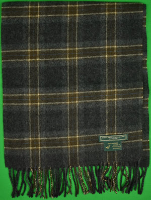 Holland & Holland 100% Cashmere Plaid Scarf Made in Scotland