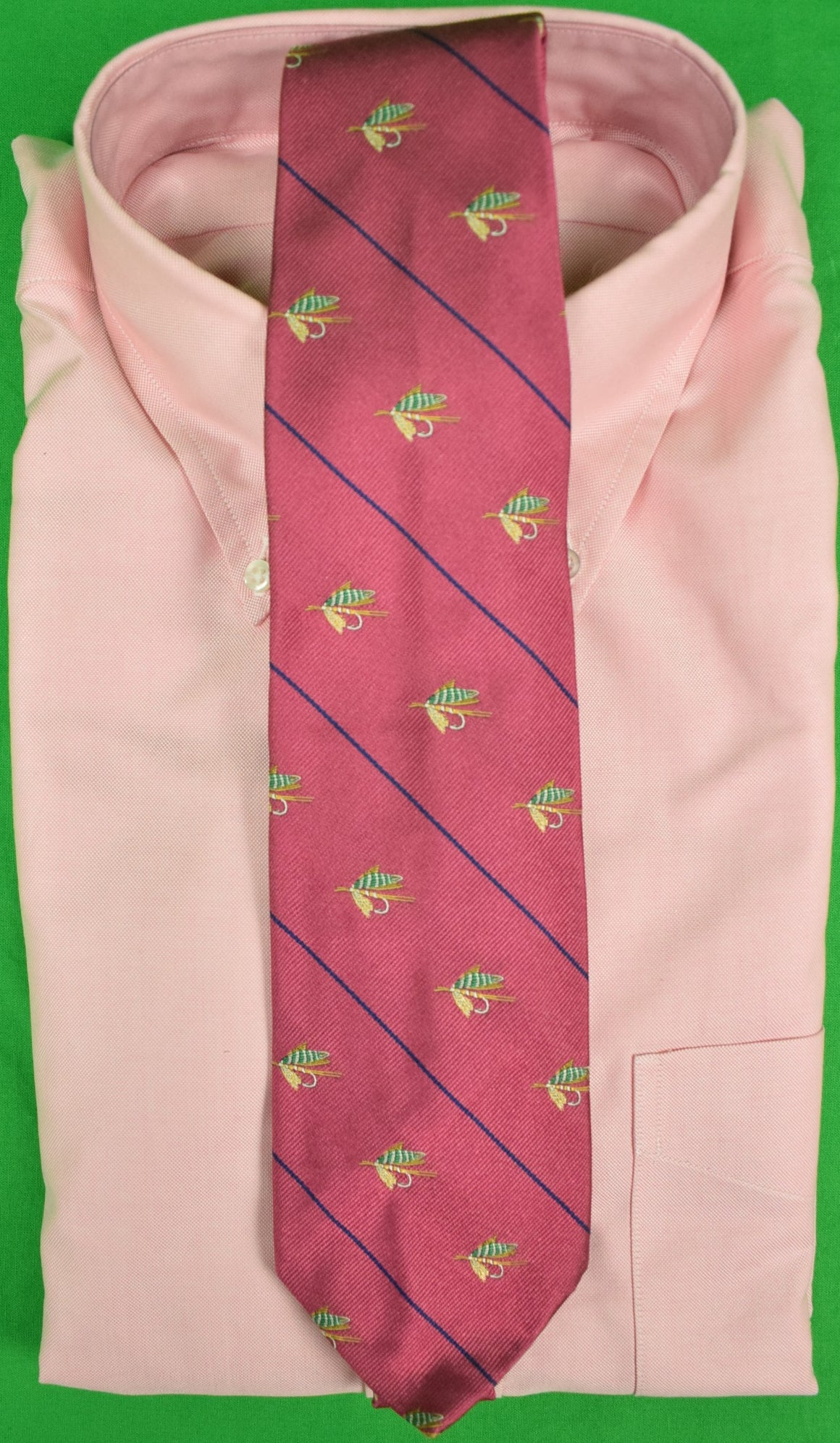 Polo by Ralph Lauren Italian Dusty Rose Silk Tie w/ Trout Fly Motif