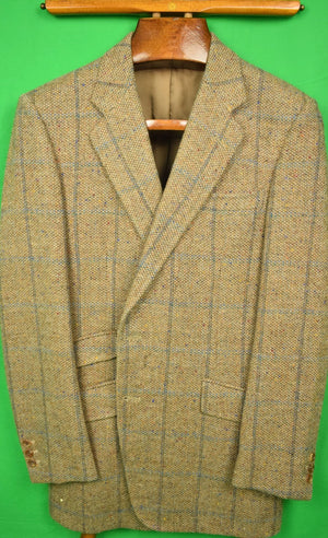 H Huntsman & Sons for Louis Boston Donegal Tweed Windowpane Sport Jacket Sz 41R