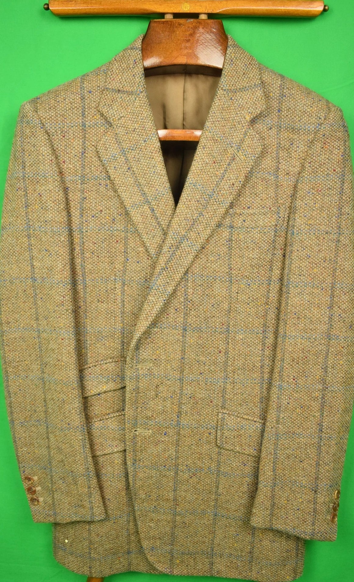 "H. Huntsman & Sons 11 Savile Row Barleycorn Donegal Tweed Windowpane Sport Jacket Sz 41""R"