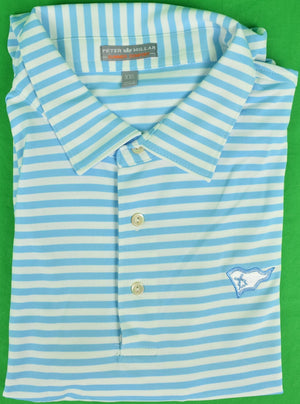 Peter Millar Blue&White Stripe S/S Polo Shirt w/ Mill Reef Club Antigua Logo Sz: XXL