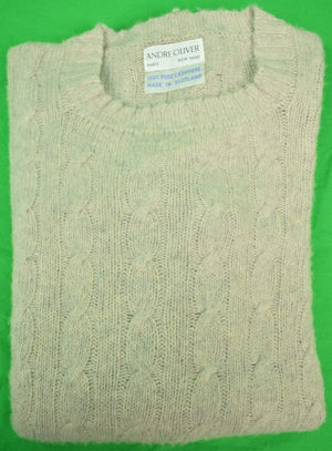 Andre Oliver Scottish Cashmere Lt Grey Cable Crew Neck Sweater Sz: 40/ M