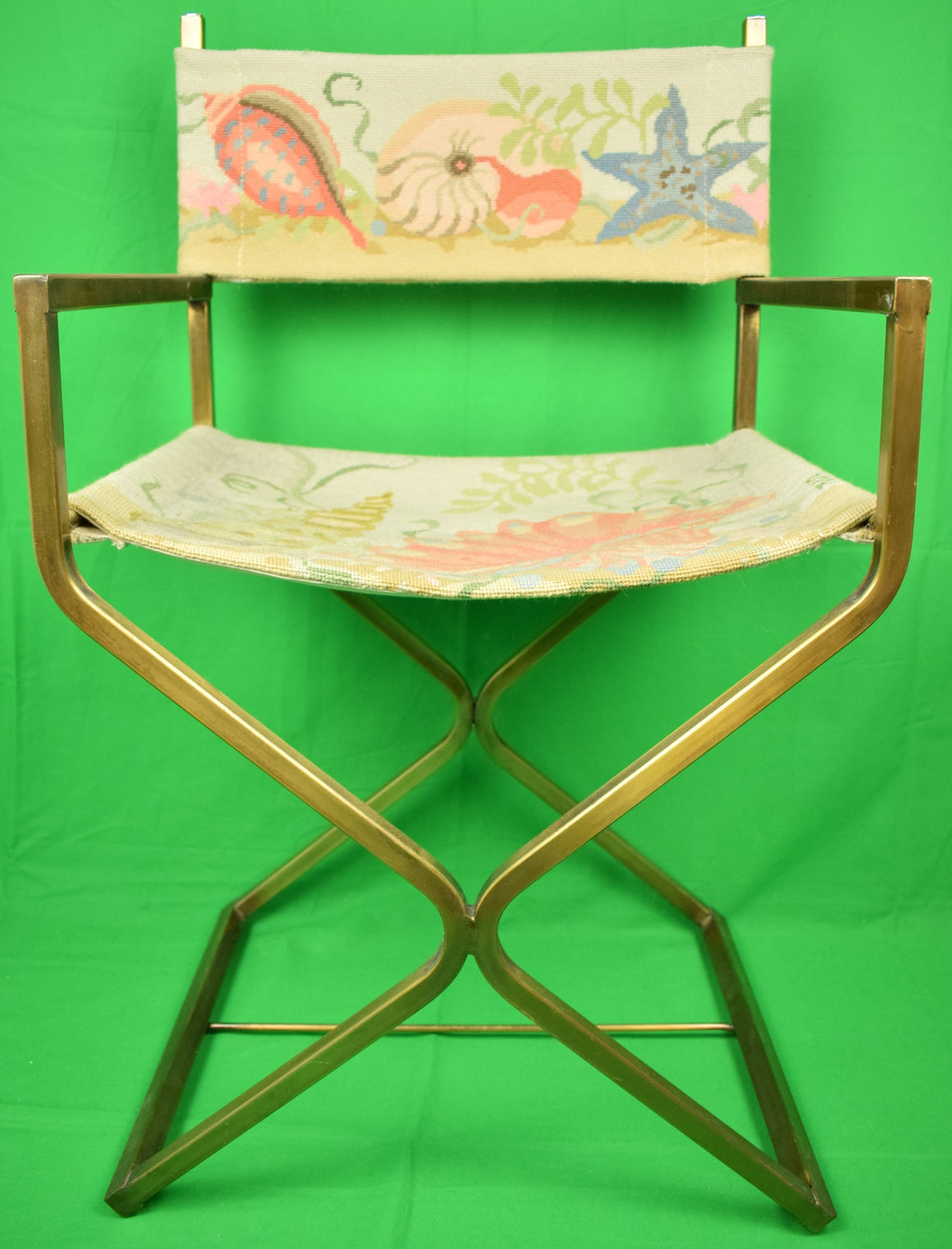 Palm Beach Seashells c1960s Hand-Needlepoint Director's Chair