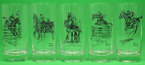 Set of 5 Paul Brown for Brooks Brothers Equestrian c1940s Highball Glasses