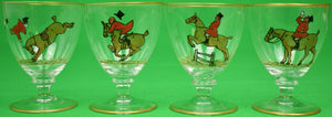 Set of 4 Sherry Glasses Hand-Painted by Frank Vosmansky