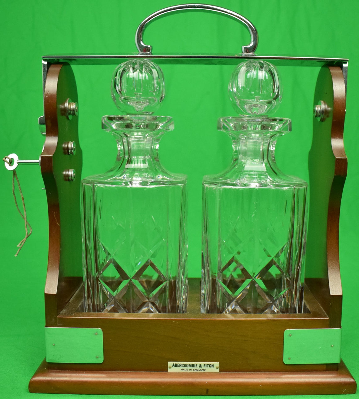 Abercrombie & Fitch Twin Crystal Decanter Tantalus Cabinet Made in England