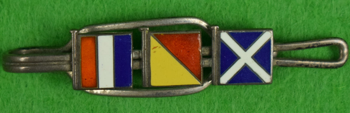 Sterling Silver Tie Clasp w/ 3 Enamel Signal Flags