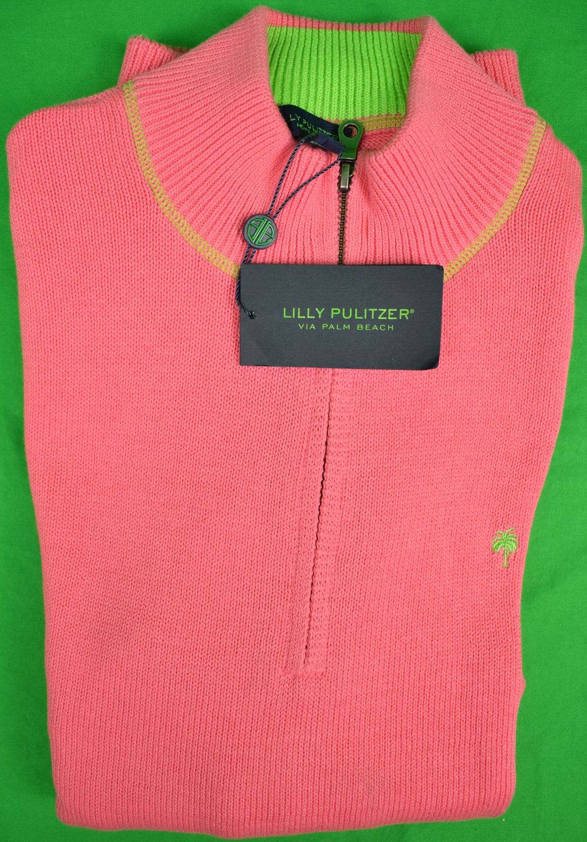 Lilly Pulitzer Hot Pink Salmon Men's Half-Zip Sweater Sz: L (New 'Deadstock' w/ Tags!) (Sold!)