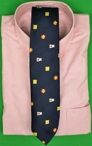 Chipp Navy Club Tie w/ Yellow/ Red & White Signal Flags