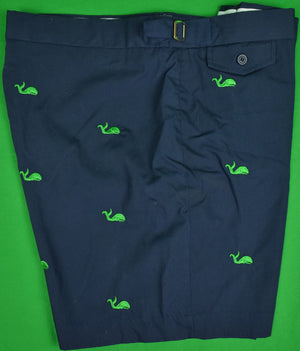 "O'Connell's Navy Poplin Swim Trunks w/ Embroidered Green Whales Sz: 42""W"