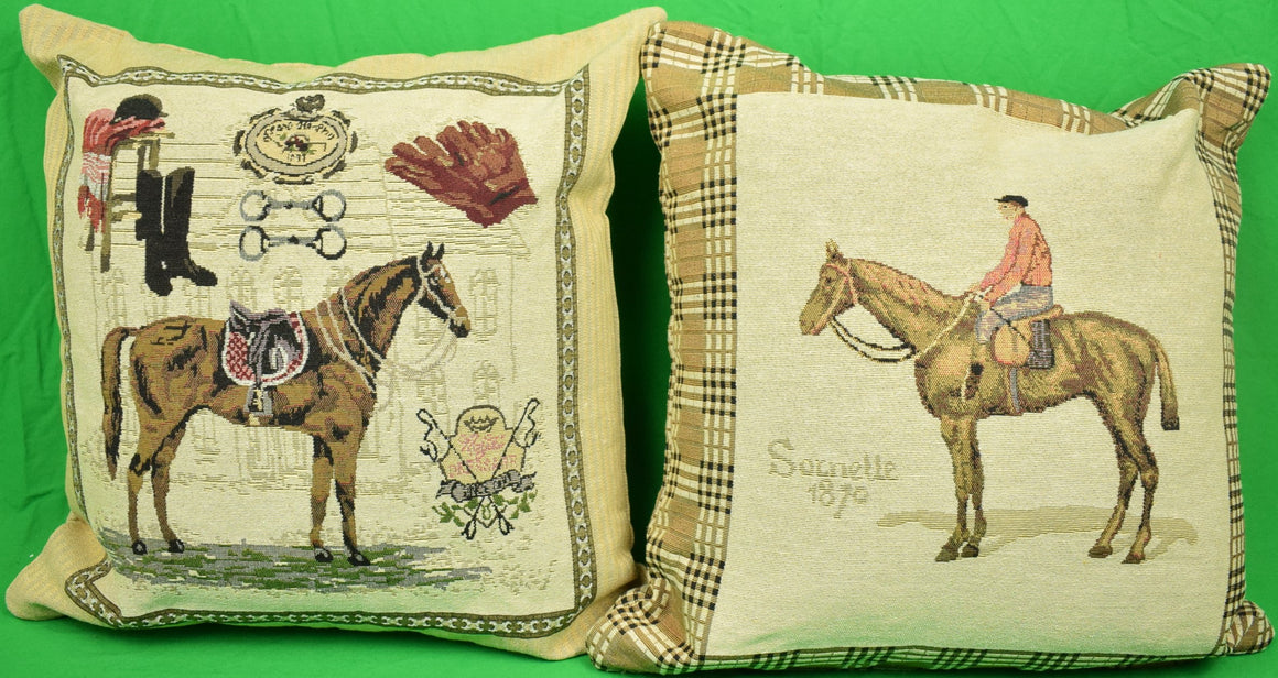 "Set of 2 Equestrian Themed English Pillows Sz: 16"" x 16"" (New!)"