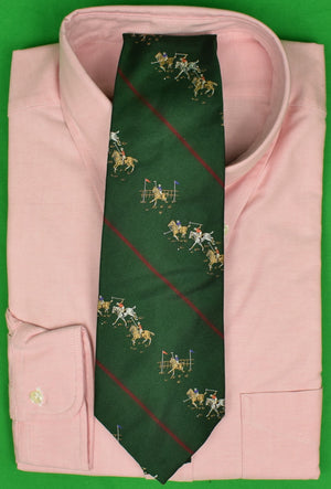 Polo by Ralph Lauren Hunter Green w/ Burg Stripe Jacquard Silk Tie w/ Polo Match Motif