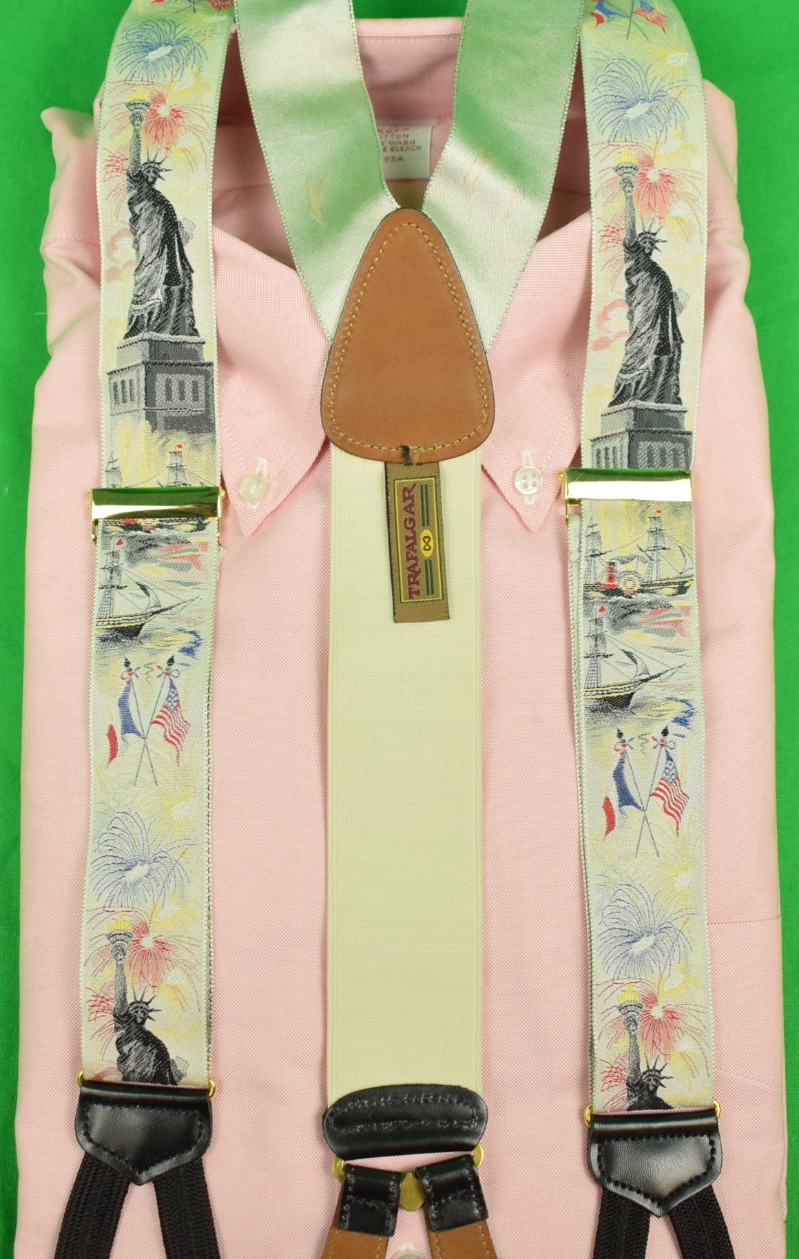 Trafalgar Statue of Liberty Silk Braces New/Old Stock! (Sold!)