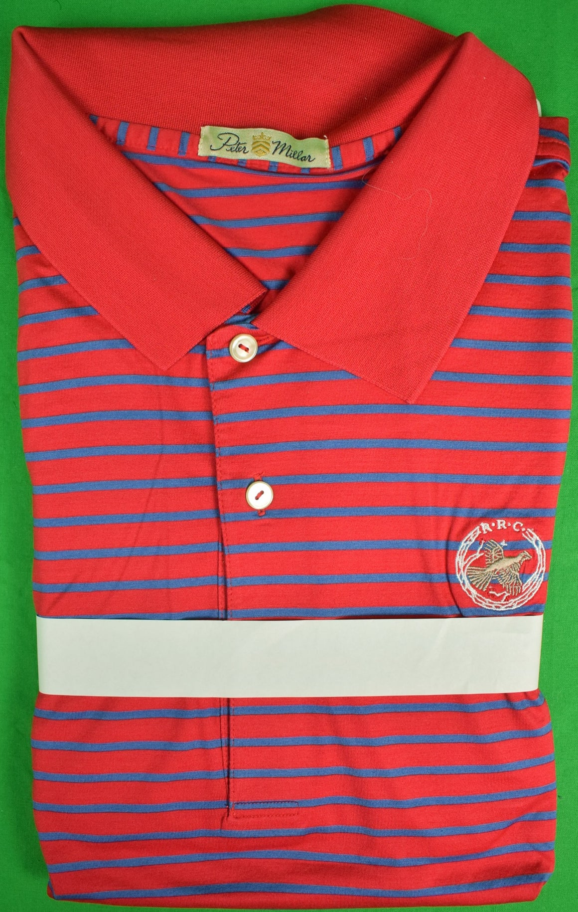 Peter Millar Red/ Blue Stripe Sport Shirt w/ Rolling Rock Club Logo Sz: XXL