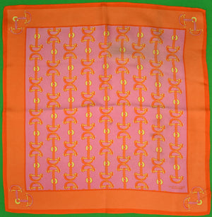 Lilly Pulitzer Lavender/ Orange Horse-Bit Silk Pocket Square