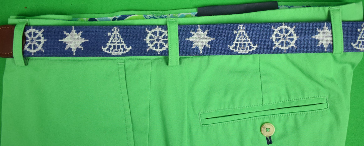 Smathers & Branson Needlepoint Nautical Motif Belt Sz: 46