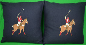 Pair of Navy Marino Wool Flannel Polo Player Pillows