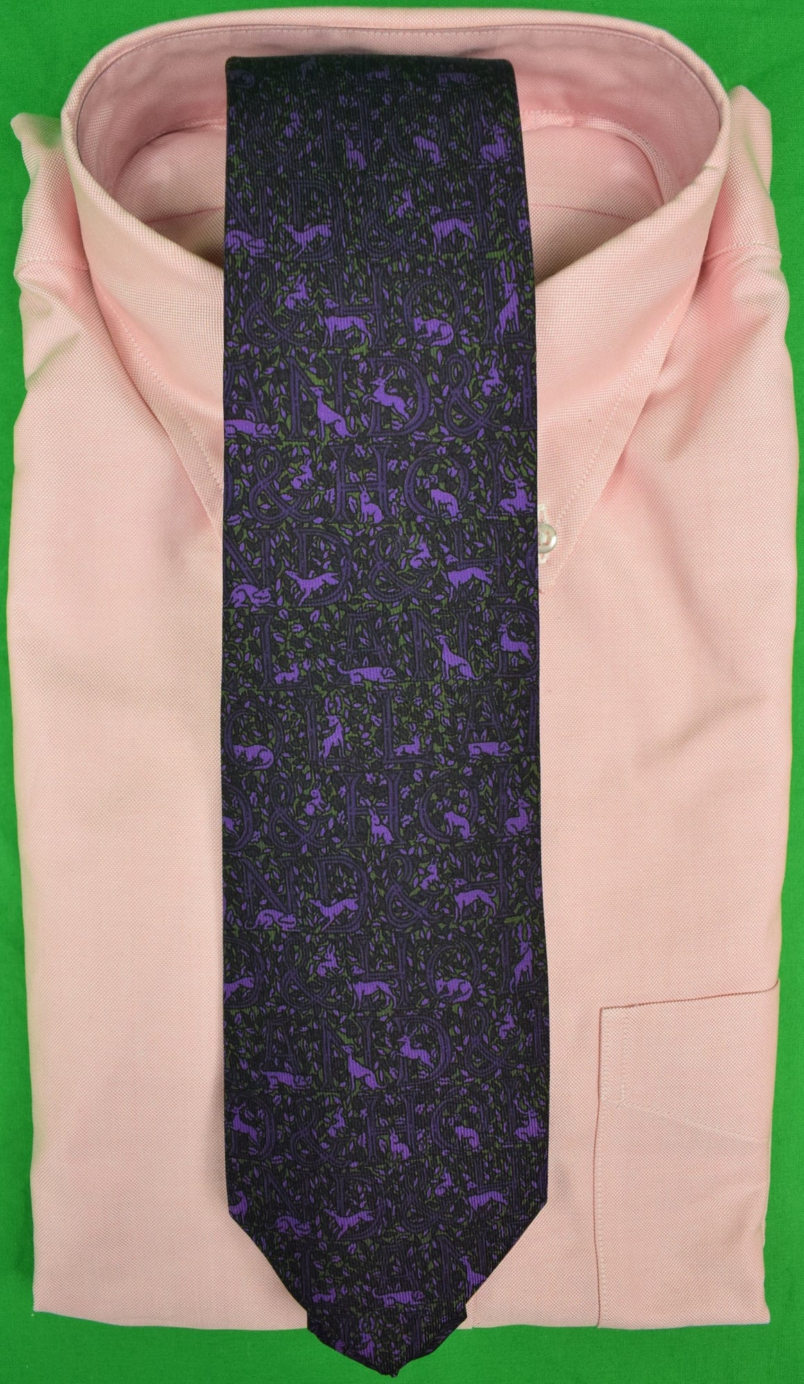Drakes for Holland & Holland Hunting Dog Purple/ Olive Silk Tie