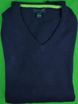 Lilly Pulitzer Navy V Neck 85% Cotton/ 15% Cashmere Sweater Sz: L