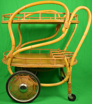 Vintage Bamboo Twin Tier Bar c1940s Cart w/ Wicker Web Spoke Wheels
