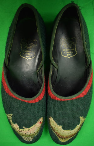 W.S. Foster Jermyn St Leaping Trout Green Needlepoint Slippers Sz: 11