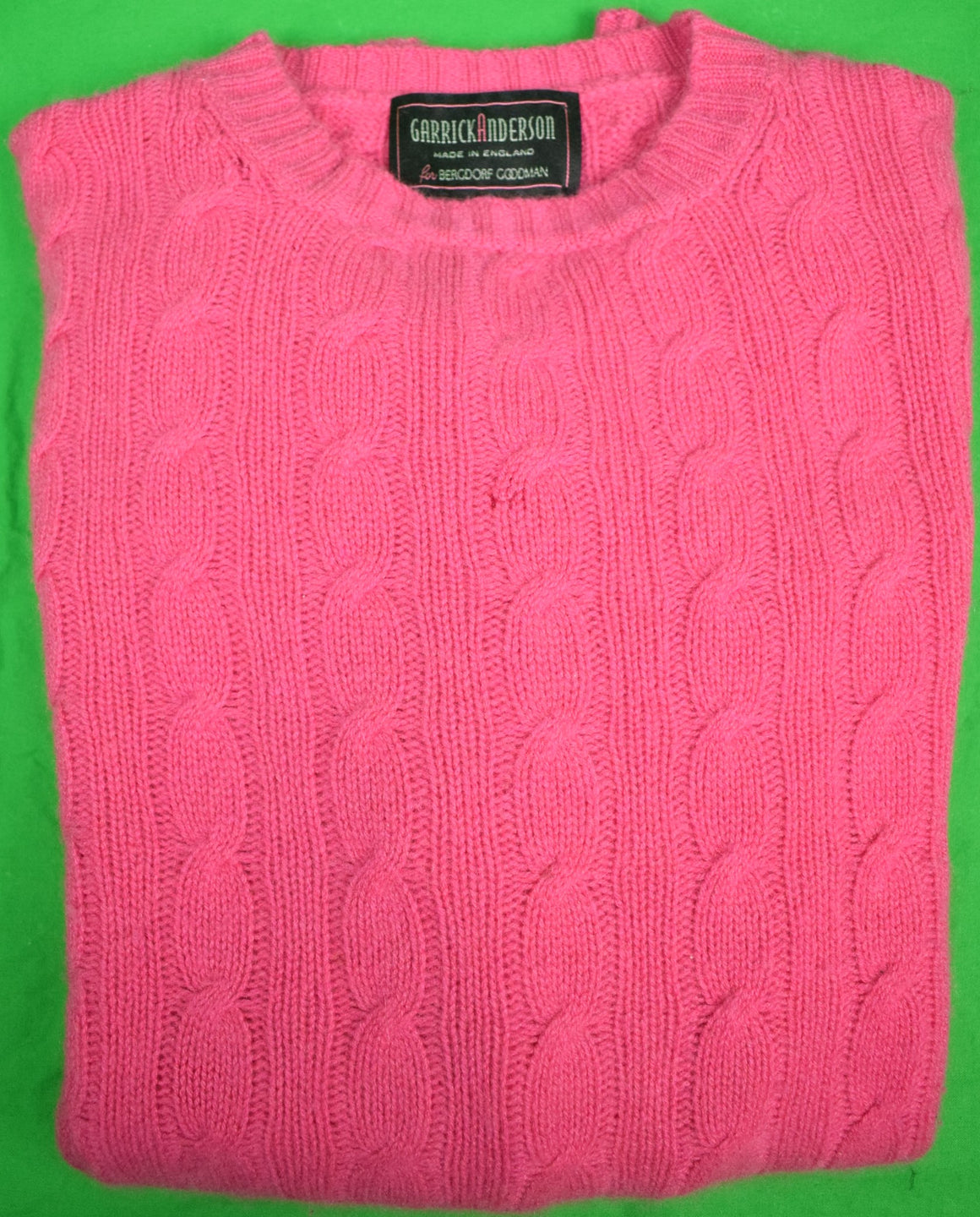 Garrick Anderson Raspberry Scottish Cashmere Cable Crew Neck Sweater Sz: XL