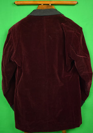 Abercrombie & Fitch Burgundy Velvet D/B Dinner/ Smoking Jacket w/ Shawl Collar Sz 40R