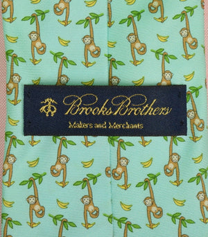 Brooks Brothers Blue/ Green Italian Silk Tie w/ Dangling Monkey Motif (New w/ Tag!)
