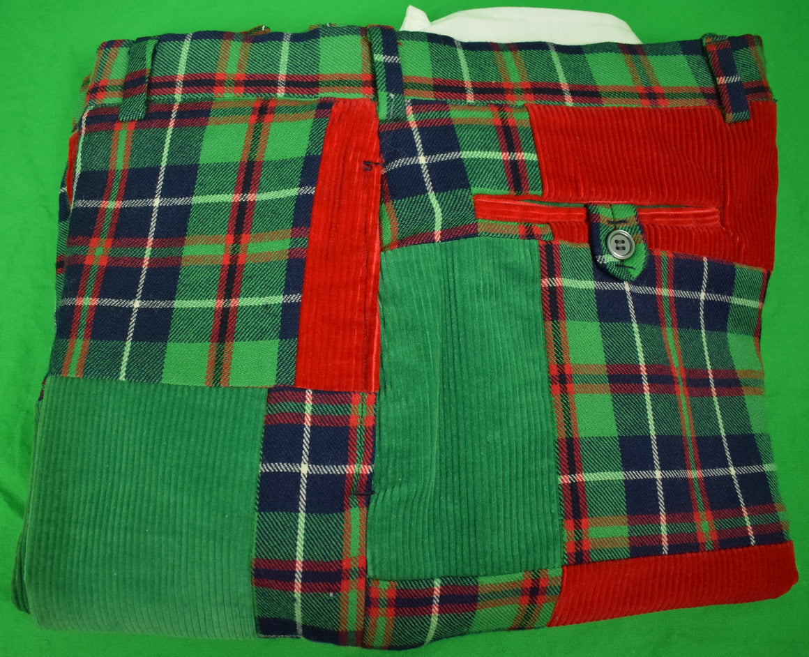 "Chipp Patch Tartan/ Green & Red Corduroy Trousers Sz 38""W"