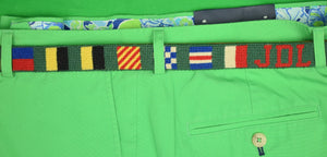 Hand-Needlepoint Signal Flag Green Belt Sz: 33