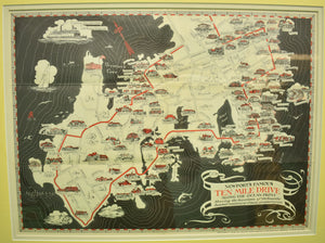 'Newport's Famous Ten Mile Drive' c1939 Aerial Map