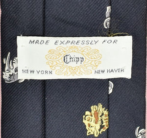 Chipp Navy Silk Club Tie w/ Safari Big Game Head Motif