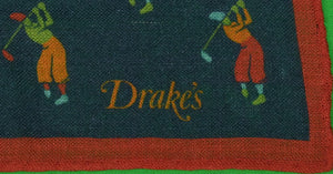 Drake's 70% Wool/ 30% Silk Navy 'Golfer' Pocket Square