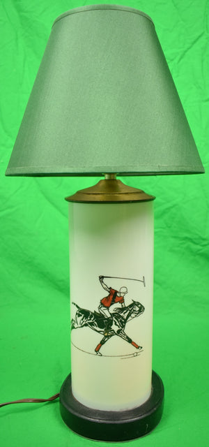 Paul D Brown Polo Player Eglomise Table Lamp