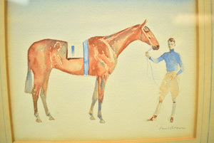 Young Rider w/ #1 Entry c.1930's Watercolour by Paul Brown
