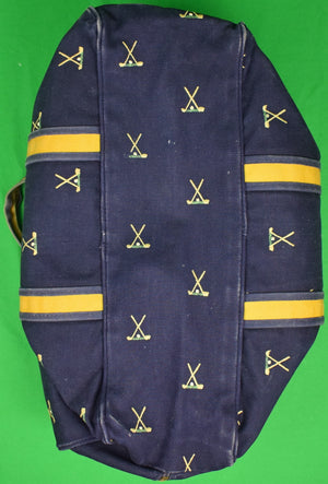 Chipp Navy Canvas c1970s Duffle Bag w/ X'd Golf Clubs Embroidery
